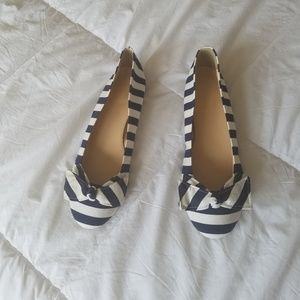 NWT J Crew Striped Bow Ballet Flats
